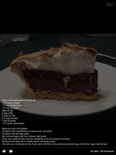 Old fashion southern chocolate pie