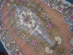 Anatolian Turkish rug peach, slate, olive, pink x - Stardust Slate, 1930s, Bohemian Rug, Peach, Rugs, Pink, Vintage, Decor, Farmhouse Rugs