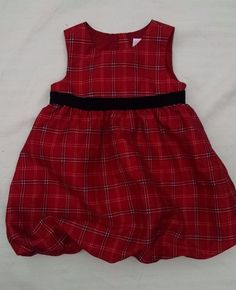 Old Navy Baby Girl Christmas Dress 12-18M Red Black Plaid Taffeta Sleeveless #OldNavy #DressyHoliday