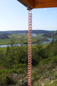 HAND MADE; Oregon Garden Art: Rain Chains; HAS VIDEO ABOUT WHAT TO DO WITH THE WATER