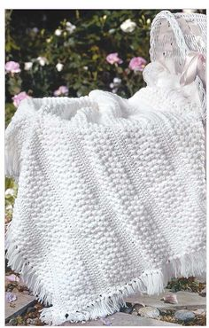 White crochet baby blanket pattern The Little Encyclopedia of Baby Blankets