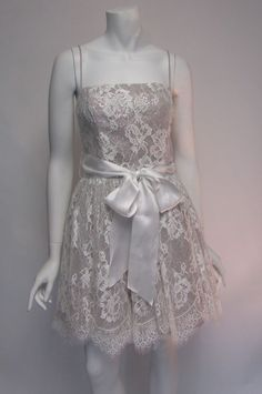 Jessica McClintock White Lace Sequin Spaghetti Strap  Cocktail Dress Sz 10 NWT