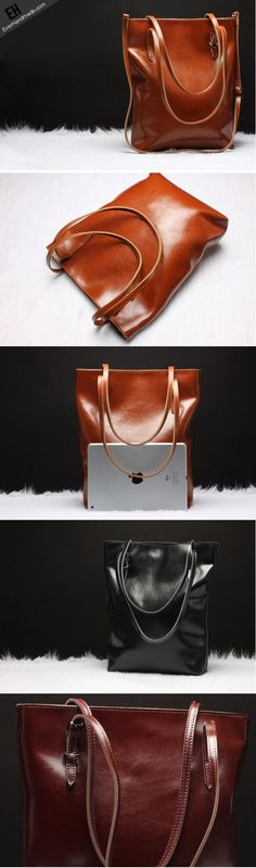 Handmade Leather tote bag shoulder bag brown black for women leather