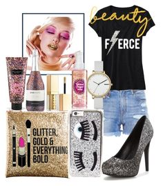 """""""Glitter and Everything 😁"""" by marjeabarca ❤ liked on Polyvore featuring beauty, Sephora Collection, Victoria's Secret, Stila, R13, Chiara Ferragni and Skagen"""