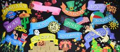 Calendar montage with each of the twelve months on a colorful banner surrounded by symbols of what make them so special