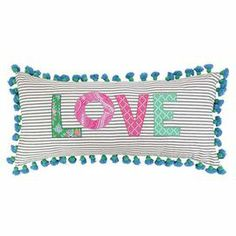 """Cotton lumbar pillow with tassel trim.    Product: PillowConstruction Material: Cotton cover and polyester fillColor: MultiFeatures: Insert includedDimensions: 15"""" x 32""""Cleaning and Care: Spot clean"""