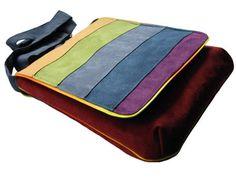 Rainbow Striped Bag with Flap OOAK Messenger Bag Rainbow by ifONA