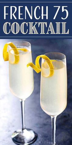 The lovely classic French 75 cocktail is made with gin, lemon juice, simple syrup, and Champagne. A great drink for brunch or a fancy party! Classic Cocktails, Fun Cocktails, Cocktail Drinks, Fun Drinks, Yummy Drinks, Cocktail Recipes, Lemon Cocktails, French Cocktails, Beverages