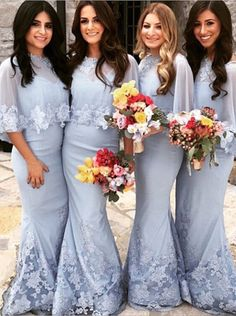 light blue bridesmaid dress, mermaid bridesmaid dress, half sleeves bridesmaid dress, 2016 bridesmaid dress #bridesmaid #blue #2016