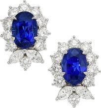 Sapphire, Diamond, Platinum Earrings, Tiffany & Co.  Th