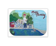 Fisherman &Dancing Fish Happy Birthday by CowberryMoonCards