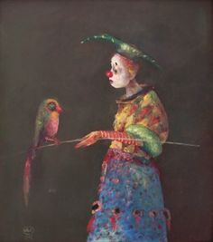 Clown with parrot