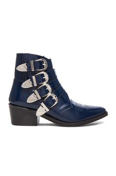 Image 1 of TOGA PULLA Leather Buckle Booties in Navy