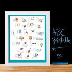 Darling Turquoise ABC Printable by My Little Girl Designs ~ perfect for a baby shower gift and the nursery! (also available in gray and pink)