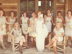 I love this bridal party pic. The mix and match dresses and the boots give such a great look, and I love the pose!