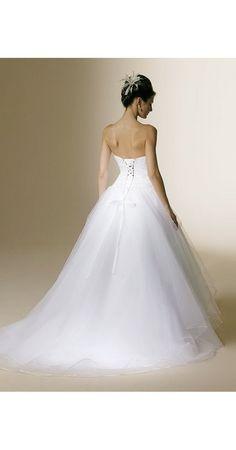 A-Linie aus Tüll Ärmellos mit Kapelle-Schleppe Schnürung Weiß Traumhafte Brautkleider günstig