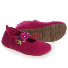 Pink Wool Slippers with Flowers - Nightwear - Girl | Childrensalon