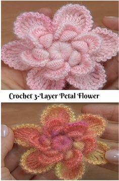 Easy Crochet Triple Layer Flower Accent Free Crochet Pattern Join this mini Easy Crochet Triple Layer Flower Accent onto a button in your clothes or tools. The center hole is oval-shaped so the flower doesn't. Boho Crochet Patterns, Crochet Headband Pattern, Crochet Flower Tutorial, Form Crochet, All Free Crochet, Crochet Flowers, Russian Crochet, Free Knitting, Crochet Ideas