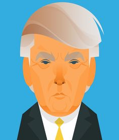 """""""Here's a Trump I did for Der Spiegel…"""" Flat Illustration, Character Illustration, Stanley Chow, Celebrity Caricatures, Vector Portrait, Wooden Dolls, Chow Chow, Pictures To Draw, Art Images"""