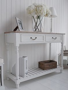 Console tables for hall and living room furniture in grey, white and cream. Brittany large console table with shelf and drawers in white