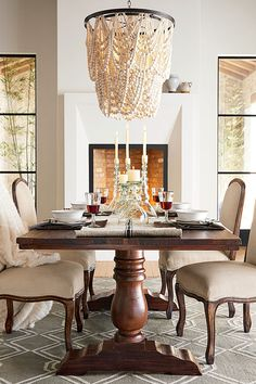 Need dining room inspiration? Shop Pottery Barn for stylish dining room ideas, furniture and decor. Create an elegant space perfect for entertaining friends and family. Wood Home Decor, Fall Home Decor, Room Decor, Pottery Barn Furniture, Up House, Dining Room Inspiration, Dining Room Design, Dining Rooms, Dining Tables