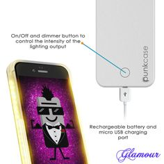 iPhone 6+/6S+ Plus Punkcase LED Light Case Light Illuminated Case, WHITE for Apple W/ Battery Power Bank      Dimmer switch to control light output and let you control the light.     Rechargeable battery and charging cord. Long lasting battery that works Independently of your Phone.     Light at the tip of your fingers. Perfect lighting is just a click away with an easy on/off switch.     1 charging cord included - Connect it to computers, laptops, portable chargers and other devices with…