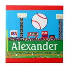 Kids & Baby Baseball Sports Gift Personalized Tile