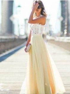 Yellow Chiffon Blend Sleeveless Lace Dress ab2bd5177943