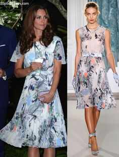 """""""… chiffon Erdem outift as blue and white with red detail, Oriental styling… a pleated skirt, exposed back and loose-fitting sleeves. She is also wearing four-inch beige (does he mean nude?) heels.""""    It is an altered version of a piece from the spring/summer 2012 collection."""