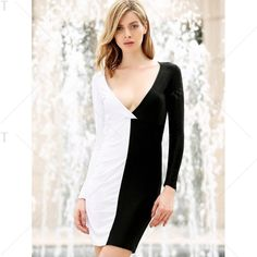 e7796e4d165 Long Sleeves Plunging Neck Off Breast Stitching Backless Packet Buttock  Women s Cut Out Club Dress