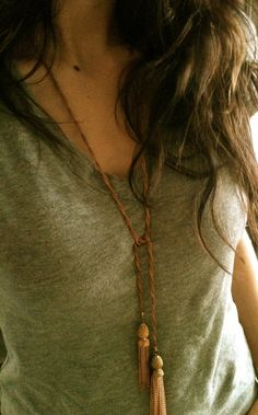 Twisted Rope Necklace with Vintage Tassels