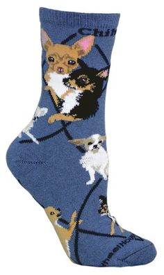 These Chihuahua Dog Blue Cotton ladies socks are a nice addition to any wardrobe, but to the Chihuahua owner, they are a must have! Chihuahua blue cotton ladies socks are a great conversation starter