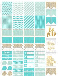 Aqua, Blue, and Gold Planner Sticker Kit _________________________________ This listing is for a sticker kit for Erin Condren Planners or