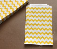 20 Yellow Chevron Bags MINI SIZE Silverware by CherishedBlessings