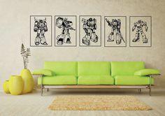 Large Retro Transformers G1 Autobots Wall Art Vinyl Sticker Home Decor Living Room Boys Bedroom Playroom Mural