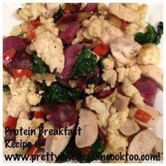Healthy Protein Breakfast Recipe w/ Egg Whites, Mushrooms, Red Pepper, Onion, Spinach, Red Potatoes and Chicken.