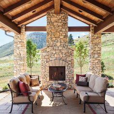Outside porch sitting area Indoor Outdoor Fireplaces, Outdoor Rooms, Outdoor Living, Outdoor Decor, Outdoor Ideas, Backyard Pavilion, Backyard Gazebo, Pergola, Deck Fireplace