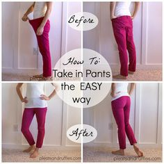 I use this method for most of my alterations.  Sewing is easy!   How To: Take in pants the EASY way, a 20 minute refashion