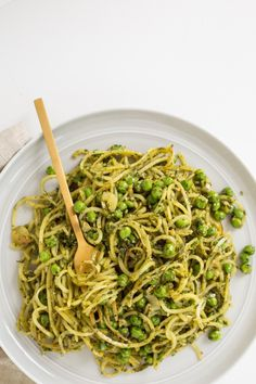 Pin for Later: Summery Zoodle Recipes to Keep Dinner Healthy and Light Peas, Pesto, Yukon Potatoes, and Zucchini Noodles Peas + potatoes + zoodles, get the recipe here.