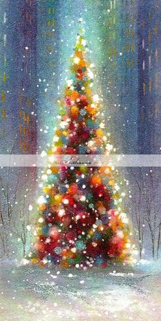 The Christmas countdown is just launched! Bring the magic of Christmas to your home! Because it is not always easy to imagine a Christmas decoration and holiday table consistent and really like you, deco. Christmas Tree Drawing, Colorful Christmas Tree, Christmas Paintings, Beautiful Christmas, Christmas Tree Decorations, White Christmas, Christmas Fun, Christmas Wreaths, Holiday Decor