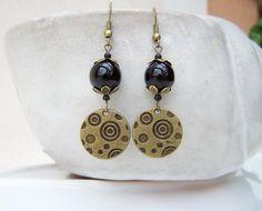 Ohrringe ♦schwarz + bronze♦  von glanzundgeschmeide auf DaWanda.com