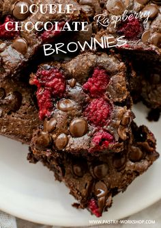 Double Chocolate Raspberry Brownies - so gooey and chocolatey that you cannot resist it!