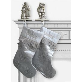 Silver Christmas Stockings Beaded Snowflakes by eugenie2 on Etsy, $23.95