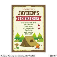 Camping Birthday Invitation Camping Birthday Invitations, Sleepover Invitations, Kids Birthday Party Invitations, Birthday Party Themes, 5th Birthday, Invites, Sleepover Birthday Parties, Camping Decorations, Rv Camping