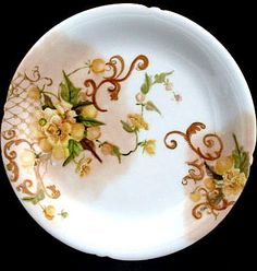 Antique JP Limoges Porcelain Plate Hand Painted Yellow Wild Roses Flowers Floral