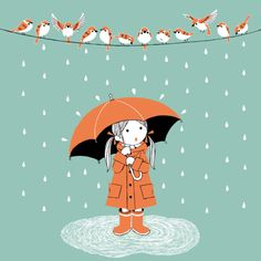 Rainy day, girl and birds, illustration via toelle Umbrella Art, Under My Umbrella, Walking In The Rain, Singing In The Rain, Clouds And Rain, Showers Of Blessing, Rain Art, A4 Poster, Posters