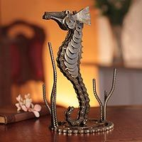 'Lucky Seahorse' sculpture made from spare auto parts