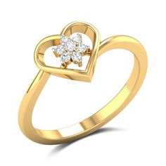 A beautifully detailed ring! This ring is created from an and gold base and is styled with a heart cut-out as the centrepiece. The heart encloses a diamond studded floral arrangement adding to its radiance. Gold Diamond Rings, Diamond Studs, Diamond Jewelry, Gold Rings, Heart Diamond Engagement Ring, Buying An Engagement Ring, Engagement Rings, Small Rings, Pretty Rings