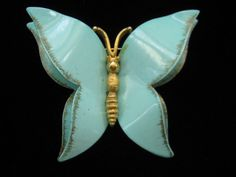 Vintage Large Blue Enamel Butterfly Pin 1960s by mimisvintageshop, $14.00