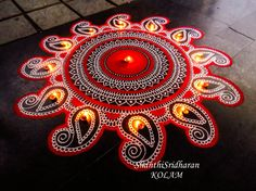 Easy Rangoli Designs Diwali, Indian Rangoli Designs, Rangoli Designs Latest, Rangoli Designs Flower, Colorful Rangoli Designs, Rangoli Ideas, Diwali Rangoli, Rangoli Designs Images, Beautiful Rangoli Designs